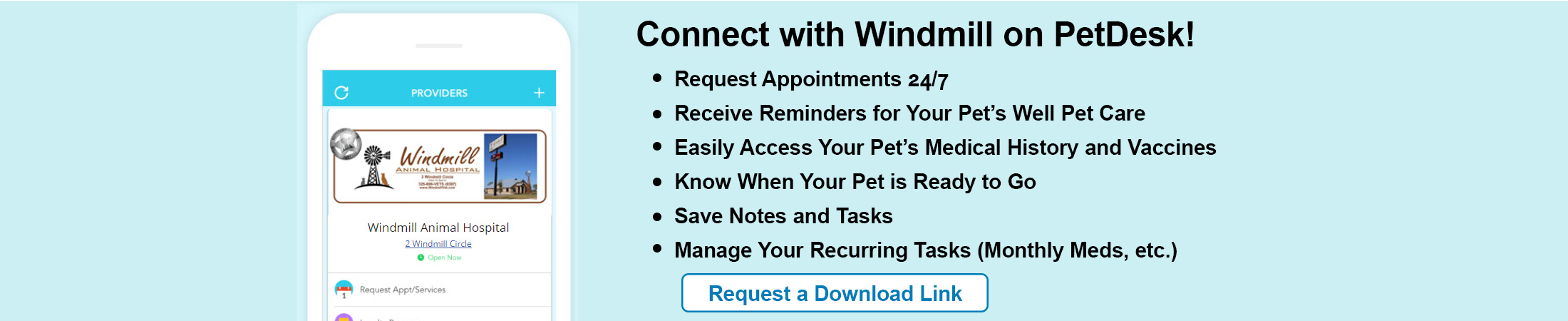 Windmill Animal Hospital Pet Desk Backup